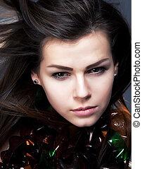 falować, kobieta, piękno, młody, włosy, closeup, portret