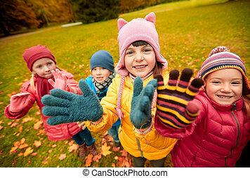 falować, park, jesień, siła robocza, dzieci, szczęśliwy