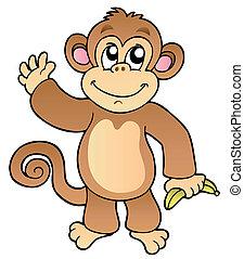 falować, rysunek, małpa, banan
