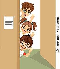 falować, sprytny, zerkanie, drzwi, dzieci