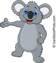 falować, szczęśliwy, koala, rysunek, ręka