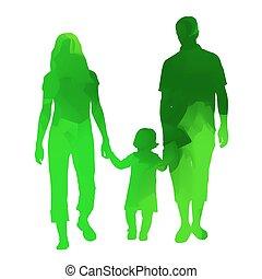family., abstrakcyjny, wektor, zielony, sylwetka