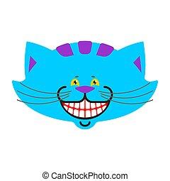 fantastyczny, cheshire, magia, isolated., alice, kot, pieszczoch, wonderland., zwierzę, uśmiech