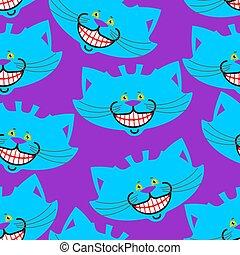 fantastyczny, cheshire, magia, zwierzę, pieszczoch, pattern., alice, struktura, kot, wonderland., tło, uśmiech