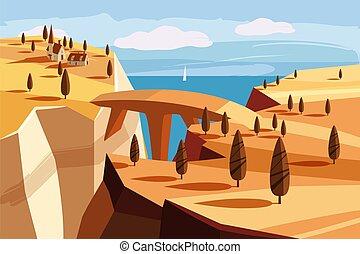 fantastyczny, krajobraz, wektor, projektować, gardziel, odizolowany, gra, rysunek, przestrzeń, kaprys, horyzont, góra, ilustracja