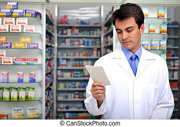 farmaceuta, czytanie, recepta, apteka
