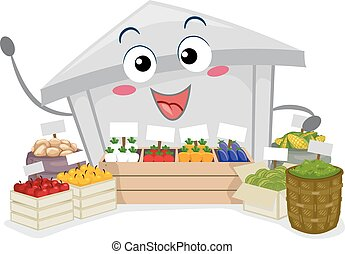 farmerki robią zakupy, ilustracja, maskotka