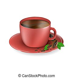 fasole kawy, czerwona filiżanka