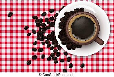 fasole kawy, tablecloth, tło, filiżanka