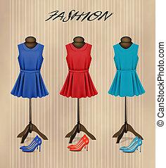 fason, barwny, shoes., butik, wektor, retro, tło, stroje