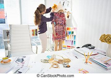 fason, część garderoby, przybory, projektant, closeup, tło, stół, dekorowanie