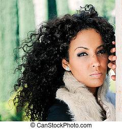fason, czarnoskóry, wzór, młoda kobieta