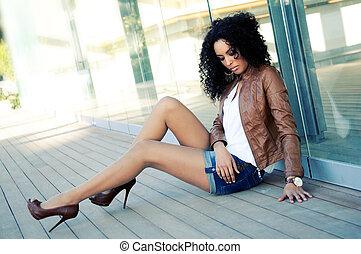 fason, czarnoskóry, wzór, młody, portret, kobieta