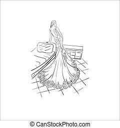 fason, dama, wektor, ilustracja