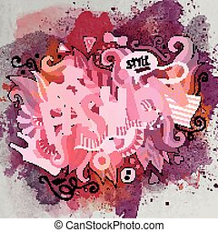 fason, doodle, ilustracja, ręka, wektor, pociągnięty, rysunek