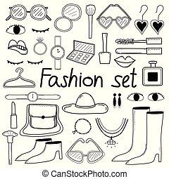 fason, doodle, set., ręka, wektor, pociągnięty, kreska