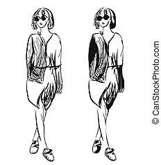 fason, dziewczyny, sketch.