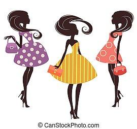 fason, dziewczyny, trzy