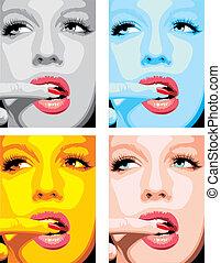 fason, dziewczyny, twarz, różny, kolor