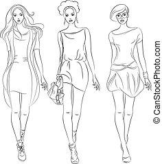 fason, dziewczyny, wektor, stroje, górny, wzory, piękny