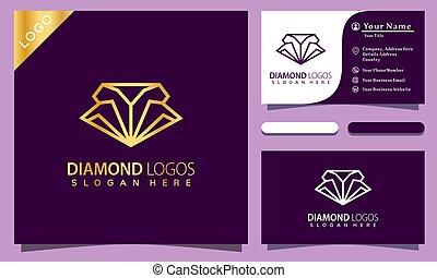 fason, elegancki, handlowy, złoty, wektor, diament, karta, ilustracja, logo, towarzystwo, szablon, projektować, nowoczesny