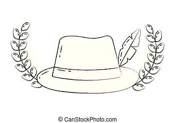 fason, emblemat, fedora, klasyk, pióro kapelusz