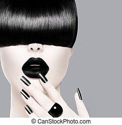 fason, fryzura, usteczka, czarnoskóry, manicure, modny, wzór