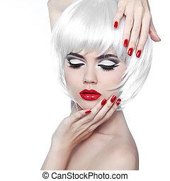 fason, hairstyle., piękno, makijaż, odizolowany, tło., usteczka, manicured, dziewczyna, biały czerwony, nails.