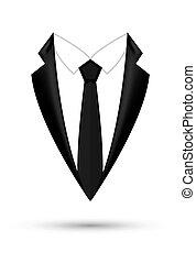 fason, handlowy, odizolowany, bow., marynarka, czarne tło, garnitur, projektować, ikona, człowiek