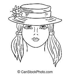 fason, illustration., babski, twarz, hand-drawn, wektor, model.