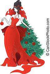 fason, illustration., odizolowany, sylwetka, strój, boże narodzenie, czerwony, kobiety