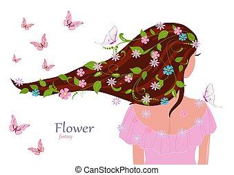 fason, jej, liście, włosy, projektować, dziewczyna, kwiaty, twój