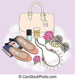 fason, jewelery, essentials., obuwie, makijaż, sunglasses, flowers., tło, torba