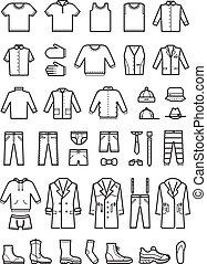 fason, komplet, ikony, menu, wektor, odzież, kreska, samiec