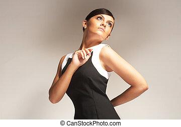 fason, lekki, upozowany, czarne tło, wzór, strój
