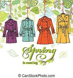 fason, liście, dekoracje, set., .woman, marynarki, wiosna