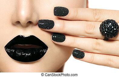 fason, lips., makijaż, kawior, czarnoskóry, manicure
