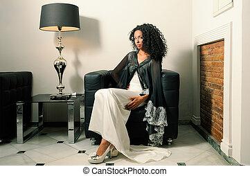 fason, młody, czarna kobieta, partia, wzór, strój