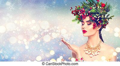 fason, magia, zima, jej, śnieg, ręka, podmuchowy, dziewczyna, boże narodzenie