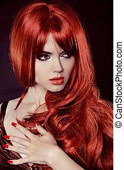 fason, nails., kędzierzawy, hair., odizolowany, kudły, tło., czarnoskóry, manicured, portret, dziewczyna, czerwony
