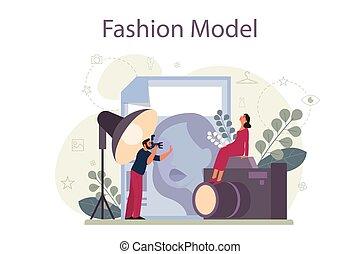 fason, obsadzać kobietę, odzież, nowy wzór, concept., przedstawiać