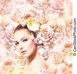 fason, piękno, panna młoda, hair., wzór, kwiaty, dziewczyna