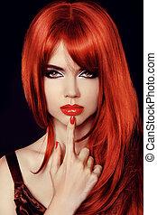 fason, piękno, zdrowy, prosty, odizolowany, długi, kobieta, model., hair., sexy, black., czerwony, secret.