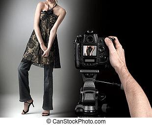 fason, profesjonalny, strzał, studio fotografa, model.