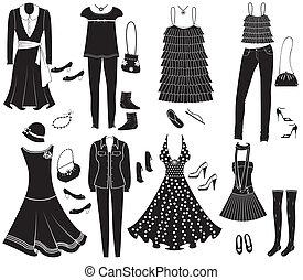 fason, przybory, wektor, projektować, weman, odzież