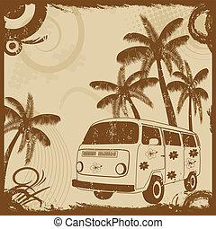 fason, stary, dłonie, rocznik wina, lotnik, autobus