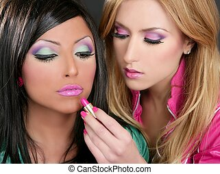 fason, szminka, lalka, makijaż, dziewczyny, 1980s, retro, barbie