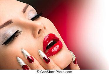 fason, sztuka, manicure, piękno, paznokieć, girl., make-up., wzór