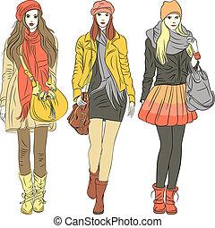 fason, szykowny, dziewczyny, ciepły, wektor, odzież