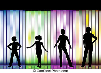 fason, tło, barwny, rodzina, pokaz